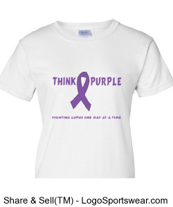 Think Purple Ladies White Tee Design Zoom